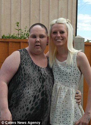 Miss Howarth, pictured with her best friend Sophie, right, has ballooned from a size 10 to 28, having gained nine stone in three months having taken steroids as part of her treatment