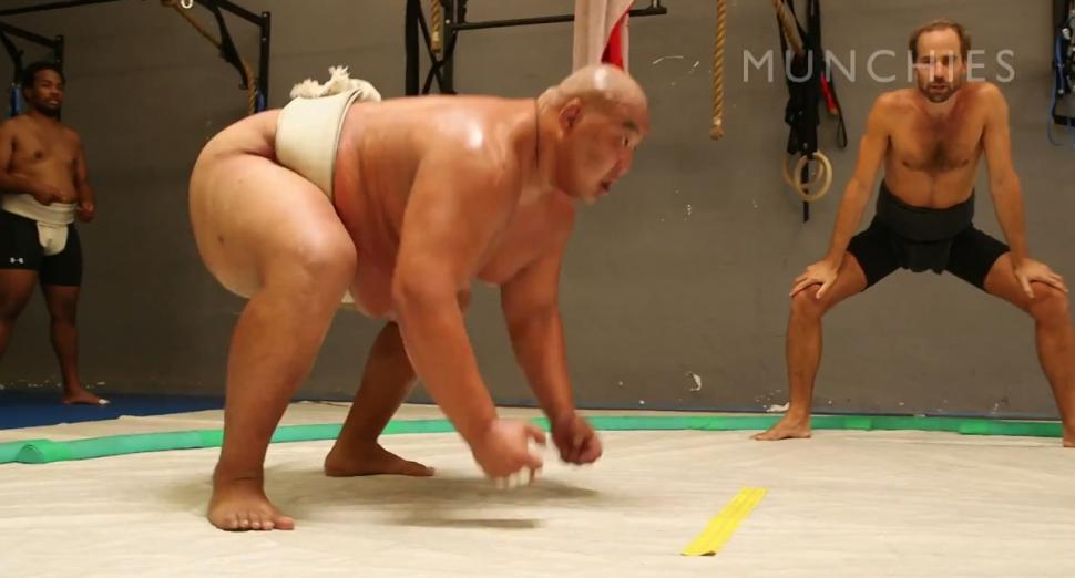 World sumo champion Byamba Ulambayar shows off his moves as well as his favorite dish, chankonabe, a Japanese stew that helps sumo wrestlers pack on the pounds.