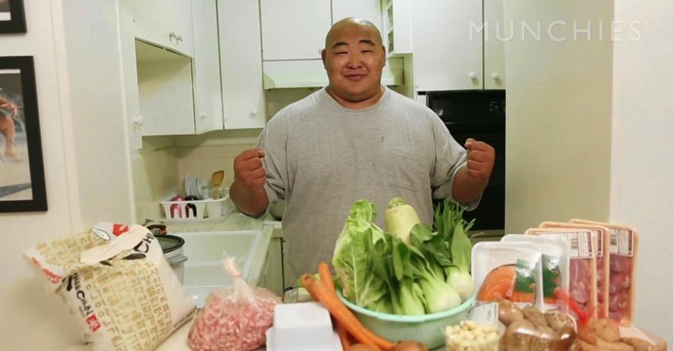 Is  Byamba Ulambaya making meal for a family — or for just one sumo wrestler?